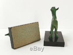 Paire De Serre-livres Chevreaux Art Deco 1920 1930 Marbre Bronze Signes Bousquet