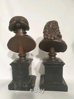 Paire de buste de Voltaire et Mirabeau en bronze sur socle en marbre. Fin 19ème