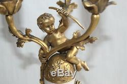 Paire de lampes en bronze et marbre signés SUSSE frères Editeurs Paris H 35.3