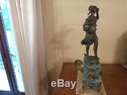 Pendule Marbre Régule patine bronze Sculpture signé Auguste MOREAU XIXe
