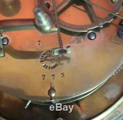 Pendule Marbre/bronze Dore Mouvement A Fil Signe Barbot A Paris Xix°
