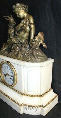 Pendule Napoléon III en marbre et bronze Mollard à Grenoble-signée PICKART