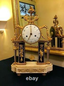 Pendule Portique d'Epoque Louis XVI en bronze doré et Marbre signée Repond Paris
