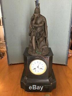 Pendule marbre et sculpture bronze signée T. GECHTER Second Empire