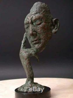 Pensée Homme Art Moderne Signée'Lost' Cire Bronze Fonte Monté sur Marbre