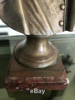 Pinedo Ancien Buste En Bronze De Napoleon Signe Marbre