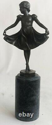 Preiss Signé Marron Patine Prima Ballerine Bronze Sculpture Marbre Figurine Sale