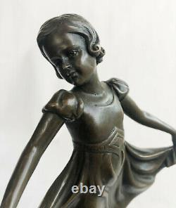 Preiss Signée Marron Patine Prima Ballerine Bronze Sculpture Marbre Cadeau