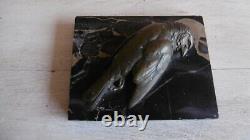 Presse Papier Bronze E Marbre Signe A. Renard Sculpture D'oiseau