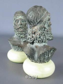 Rare Belles Statues Bustes Poudre Marbre Patinées Bronze Signées Socle En Onyx