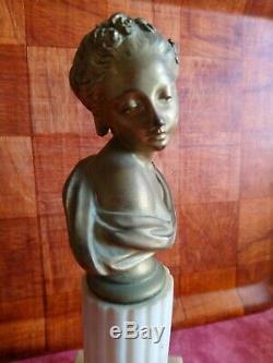 Rare Buste femme bronze doré sur socle marbre signé eugene hazart
