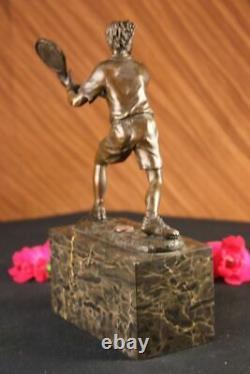Rare Fin Vintage Bronze Signé Sculpture Statue Tennis Lecteur Marbre Base Cadeau