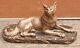 Rare ancien grand chien signé carvin / socle marbre magnifique bronze ou régule
