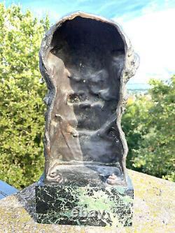 Rarissime grande sculpture bronze & marbre A. Descatoire Satyre Faune signé Siot