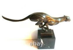 Sculpture Art Déco bronze sur marbre Panthère noire signée MILO, A6207