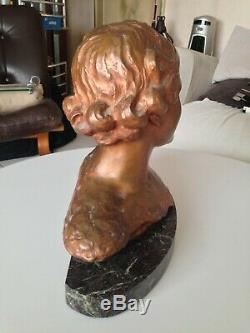 Sculpture Bronze Buste Femme Art deco sur socle Marbre signé