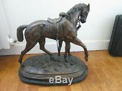 Sculpture Bronze Cheval Le Vainqueur Edgar Bertram 20,4 KG Marbre Hippisme