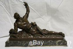 Sculpture Bronze Edouard Drouot (1859-1945) Sculpture Militaire Sur Base Marbre