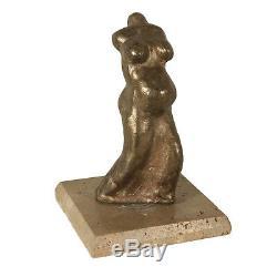 Sculpture Bronze Marbre Signature de l'Auteur Italie Années 70