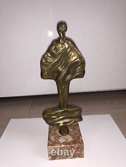 Sculpture Bronze Signée Femme Nue Erotique Curiosa Ancien Vintage Statue Marbre
