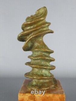 Sculpture Moderniste Fusion En Bronze Signé Sur Base Marbre Xx Seconde