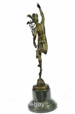 Sculpture Statue Signé Giambologna Flying Mercury Marbre Art Déco Figure Bronze