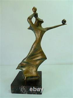 Sculpture de Femme Art Moderne Bronze Marbre Robert Seguineau XX 20th