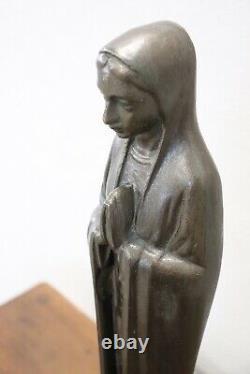 Sculpture en bronze d'époque Art Déco sur socle en marbre Vierge Marie