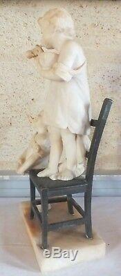 Sculpture fillettes bulles marbre bronze époque 1900 signée Gambogi
