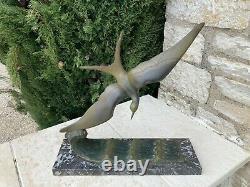 Sculpture mouette modele en bronze attribué a G GARREAU circa 1930 socle marbre