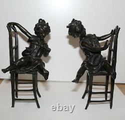 Serre-Livres Petites Filles Chaises Bronze Certifié Rare Signé Franz