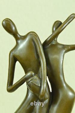 Signé Abstrait Doit We Dance Bronze Sculpture Par Milo Marbre Base Figurine Art