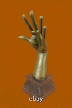Signé Abstrait Murs Avoir Oreilles Main Sculpture Marbre Base Figurine Nr