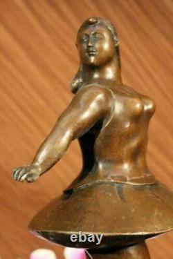 Signé Abstrait Prima Ballerine Après Botero Bronze Marbre Base Sculpture Décor