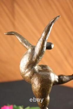 Signé Abstrait Prima Ballerine Après Botero Bronze Marbre Base Sculpture Statue
