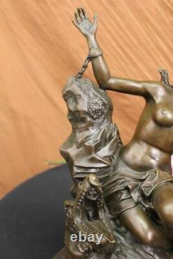 Signé Adam Déesse Bronze Figurine Marbre Base Sculpture Chaud Fonte Cadeau