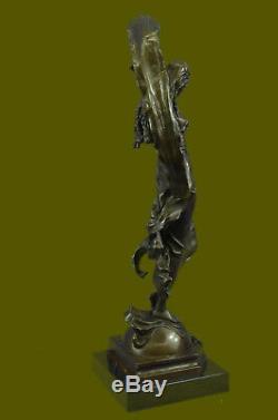 Signé Aldo Vitaleh Beauté Ruban Danseuse Bronze Sculpture Marbre Statue Décor