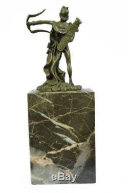 Signé Apollo Bronze Sculpture Figurine Statue Marbre Base Figurine Art Nouveau