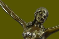 Signé Art Chiparus Ventre Danseuse Bronze Marbre Sculpture Statue Figurine