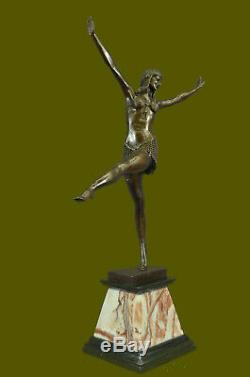 Signé Art Déco Chiparus Ventre Dancer Bronze Marbre Sculpture Statue Figurine