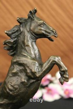 Signé Art Déco Élevage Cheval Bronze Sculpture Marbre Base Statue Lost Cire Déco