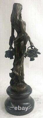 Signé Art Déco Jeune Femme Avec Paniers De Fruit Bronze Marbre Statue Figurine