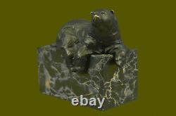 Signé Assis Polar Bear Bronze Serre-Livres Livre Fin Marbre Sculpture Statue