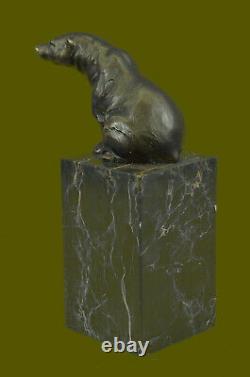 Signé Assis Polar Ours Bronze Serre-Livre Fin Déco Marbre Sculpture