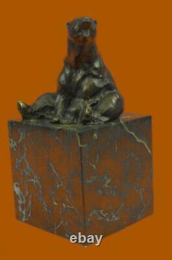 Signé Assis Polar Ours Bronze Serre-Livres Livre Fin Déco Marbre Sculpture