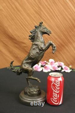 Signé Barye Excited Élevage Cheval Bronze Marbre Sculpture de Course Décor