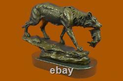 Signé Barye Loup Avec Lionceau Bronze Sculpture Statue Marbre Base Art Cadeau