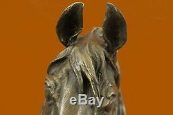 Signé Barye Unique Bronze Buste Cheval Tête Sculpture Marbre Base Statue Fonte