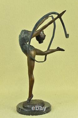 Signé Bronze Artisanal Statue Art Déco Gymnaste Sculpture Sur Marbre Base