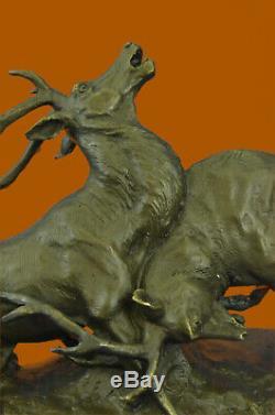 Signé Bronze Renne Statue Hunter Cerfs Elks Détaillé Sculpture Sur Marbre Base